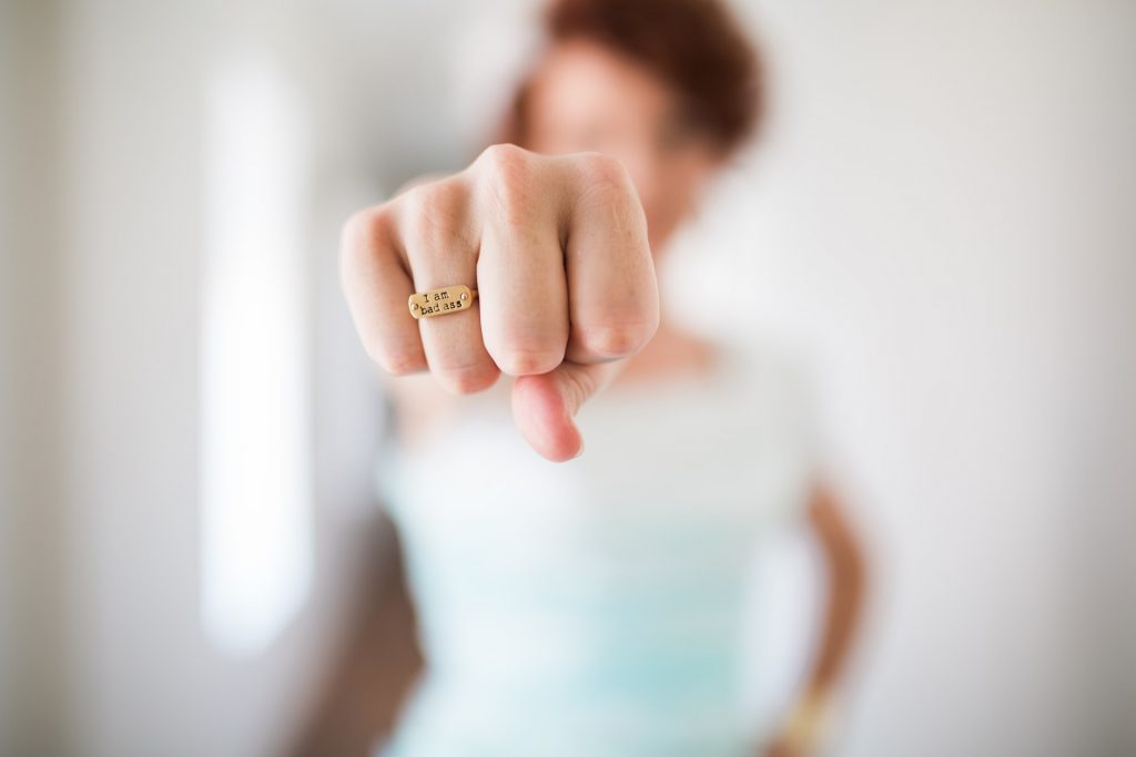 women wearing i am badass ring