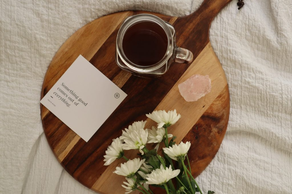 morning affirmations with coffee and flowers