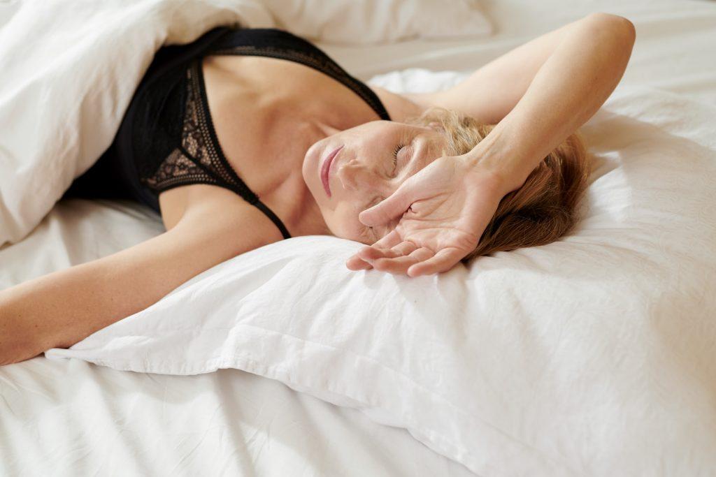 woman sleeping or waking up