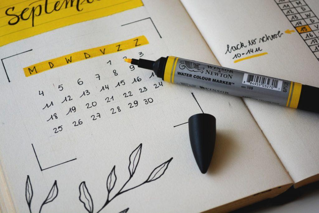 calendar in a bullet journal