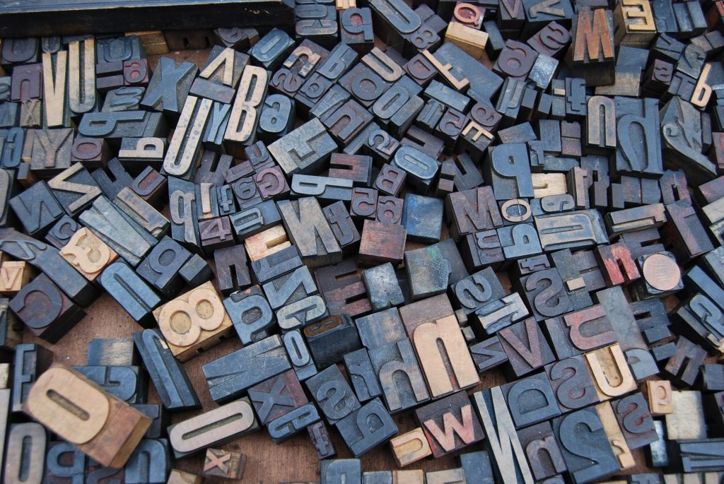 jumble of printing letters