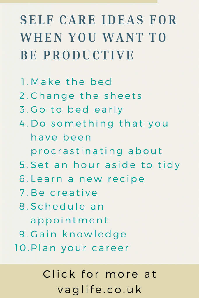 pin - self care ideas when feeling productive