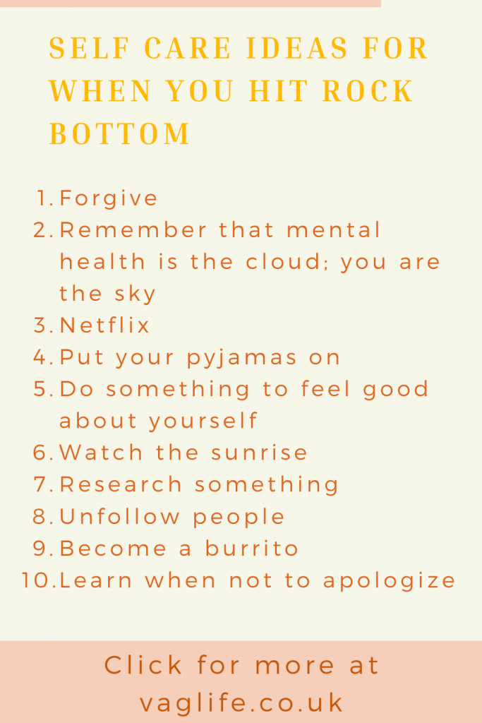 pin - self care ideas when you hit rock bottom