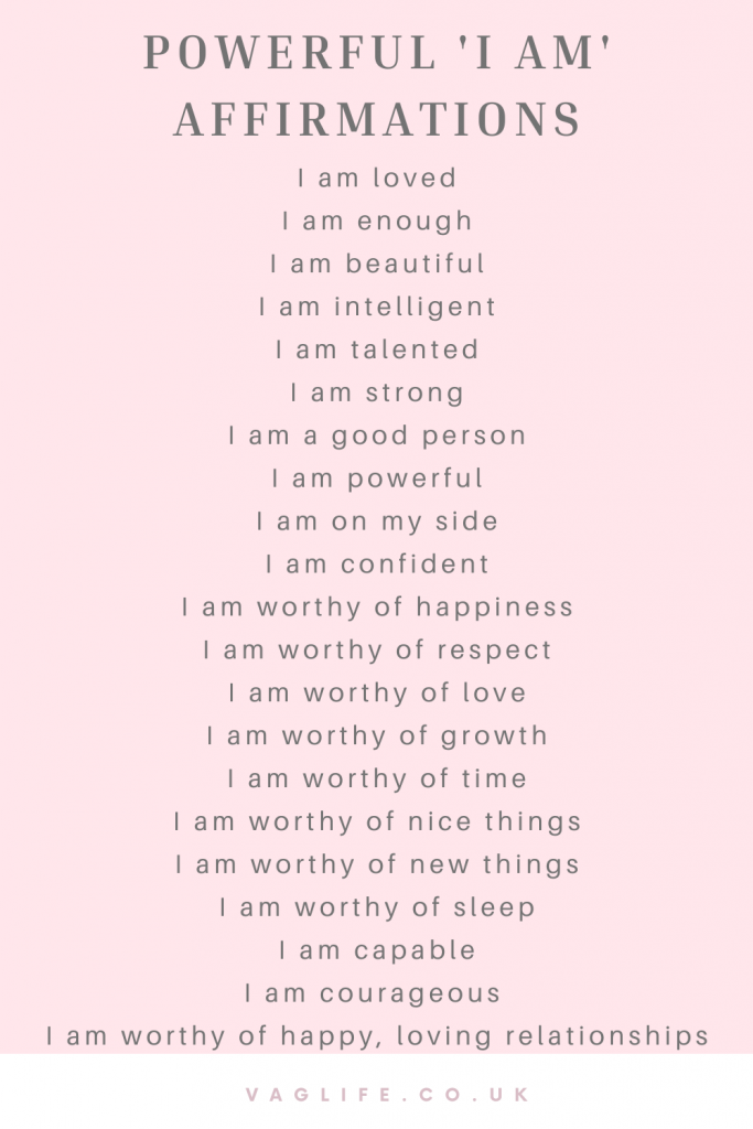 list of powerful 'I am' affirmations