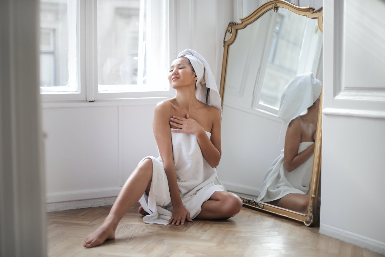 woman enjoying some self care