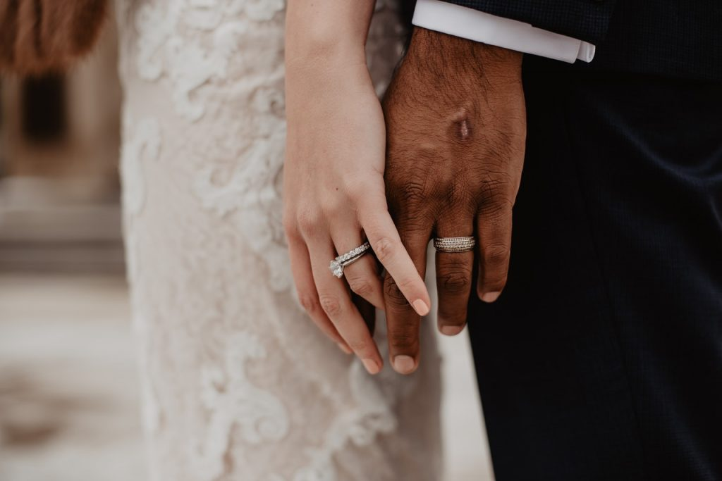 couple on wedding day - close up of their hands with rings